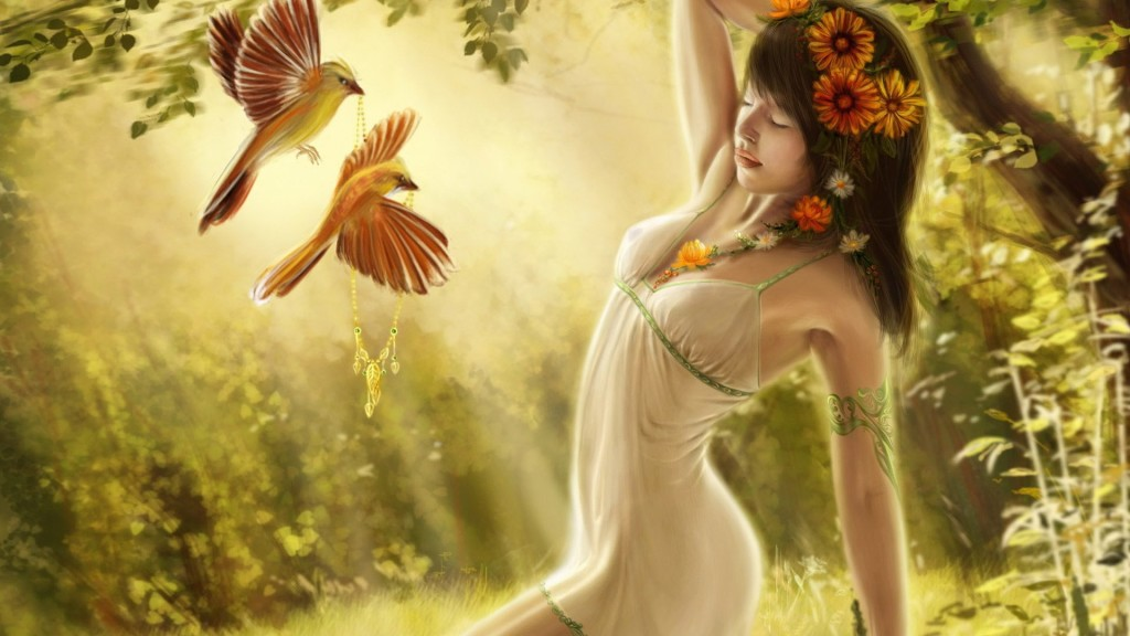 017834 (Девушка, лес, птицы)